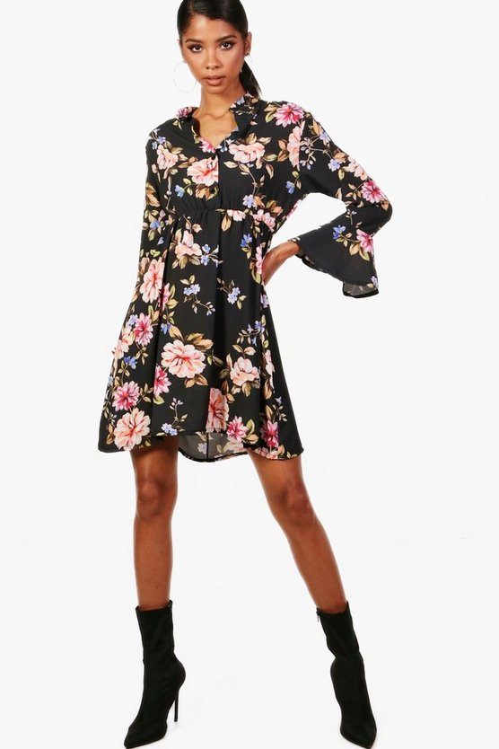 Black Floral Tie Waist Woven Shirt Dress