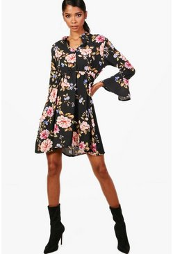 Floral Tie Waist Woven Shirt Dress, Черный, Женские