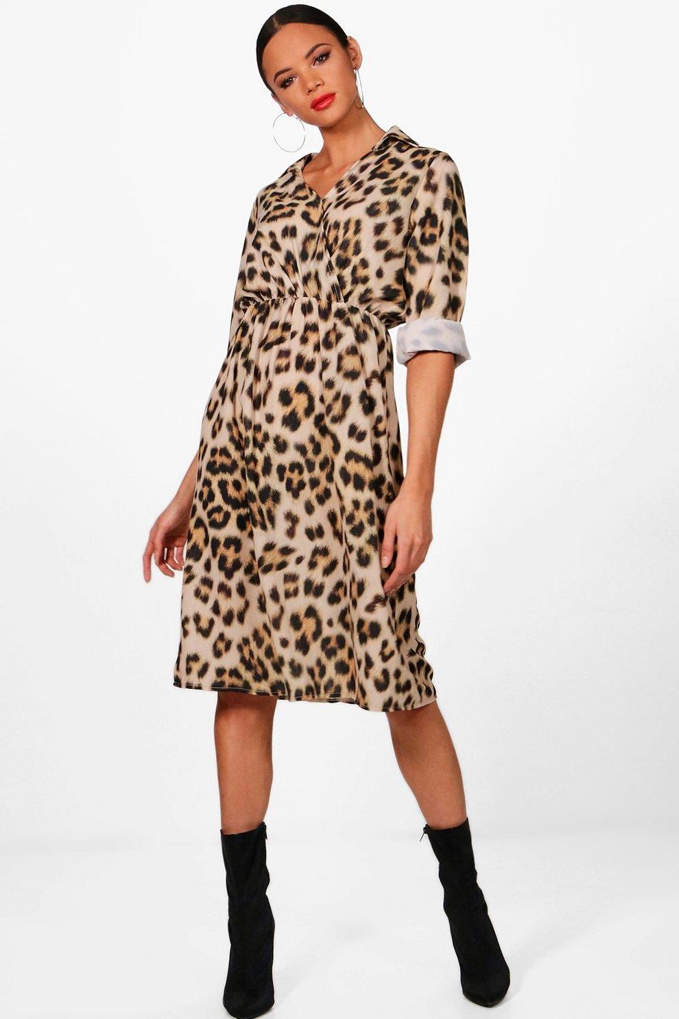 b326f3879e26 Luxe Satin Leopard Print Wrap Dress | Boohoo