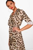 073140dc2592 ... Womens Luxe Satin Leopard Print Wrap Dress alternative image
