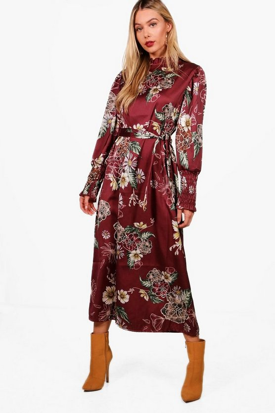 High Neck Volume Sleeve Floral Midi Dress