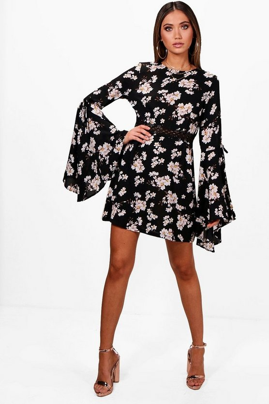 Tasha Floral Crochet Waist Skater Dress
