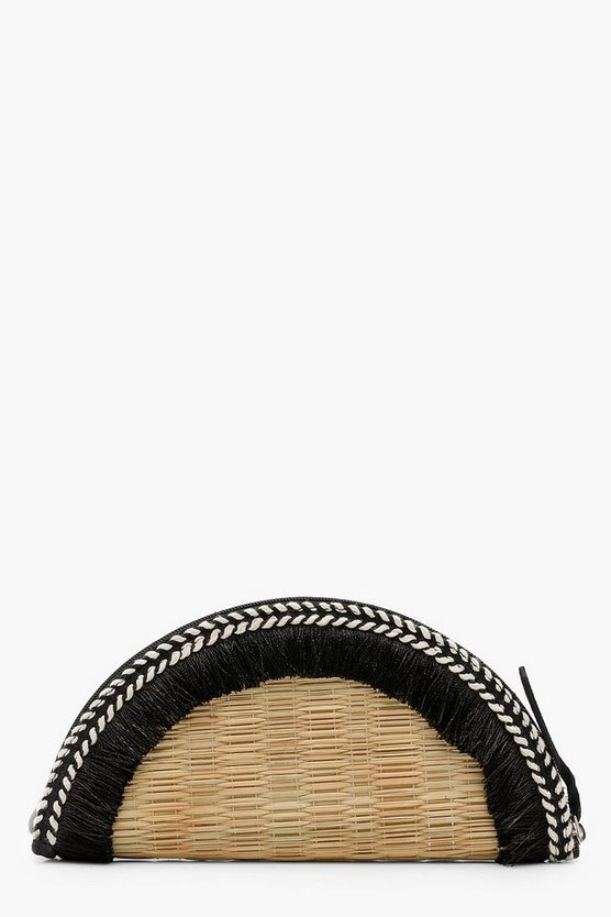 Real Straw Semi Circle Tassel Clutch
