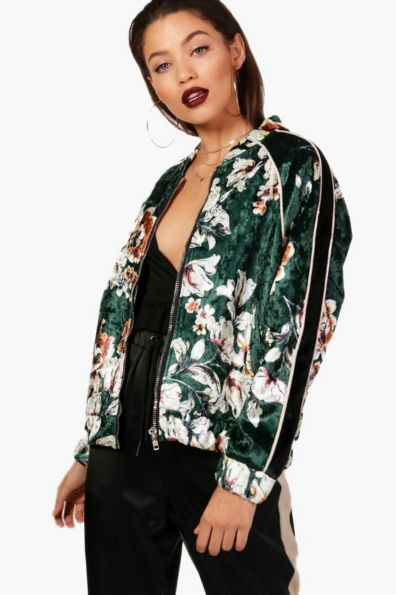 Womens Bottle Floral Printed Velvet Bomber Jacket