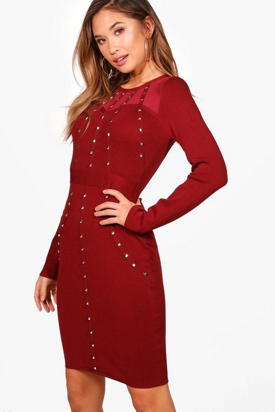 Jessica Embellished Knitted Bodycon Dress