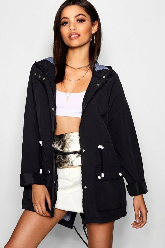 Hooded Festival Mac, Black, Donna