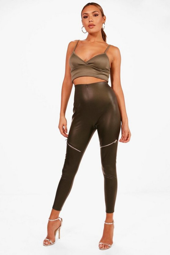 Zip Detail Leather Look Leggings