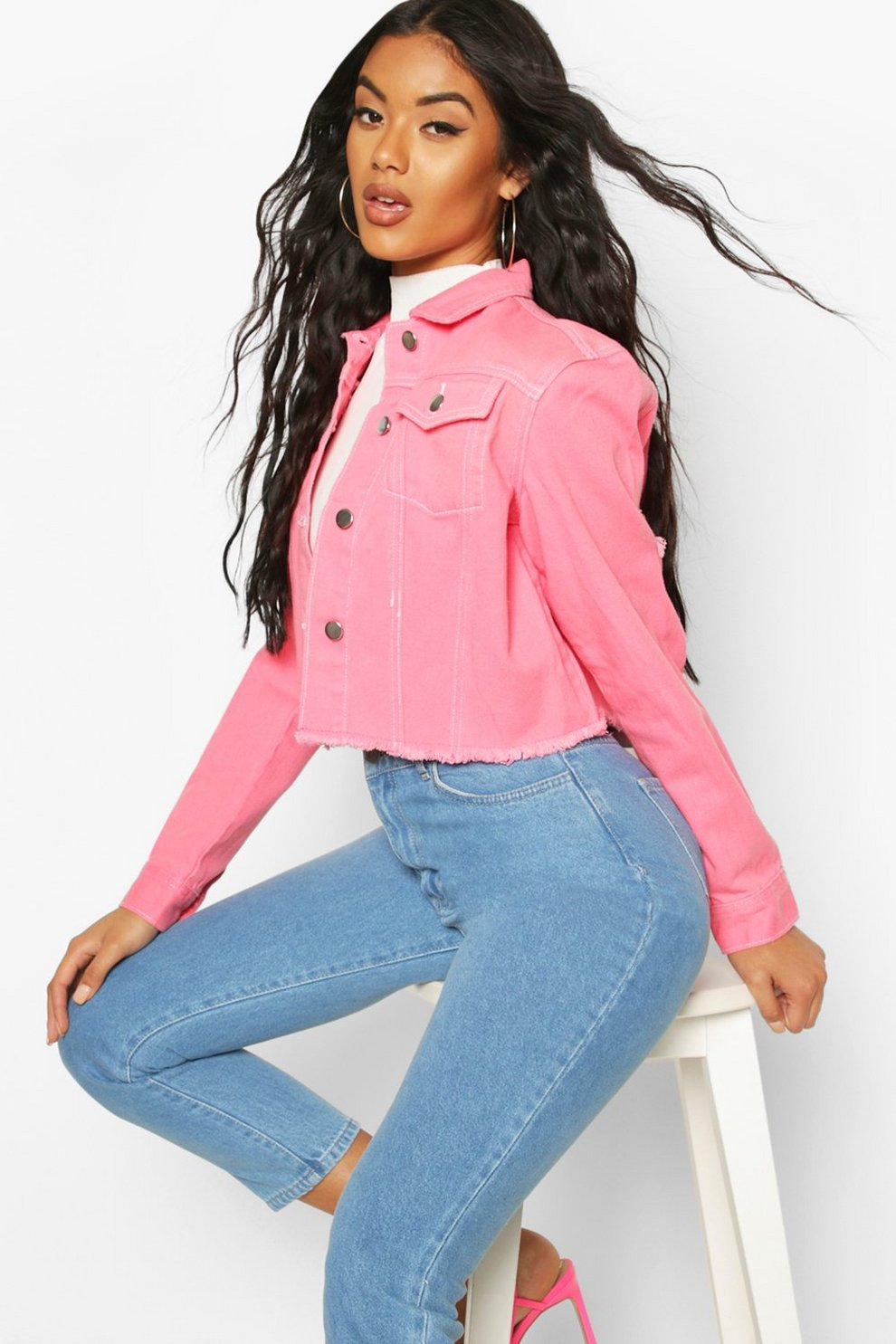 6c963b06dfbd7 Pink Cropped Contrast Stitch Denim Jacket | Boohoo