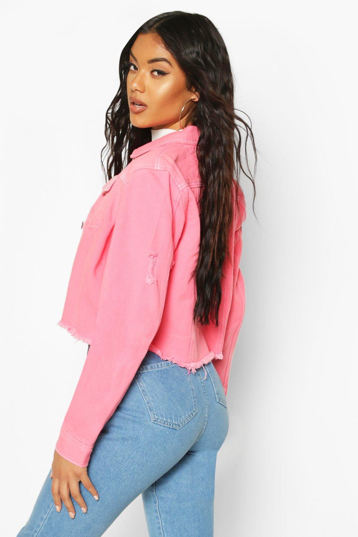 Pink Jacket pink Denim Stitch Cropped Contrast 8O6PcA8