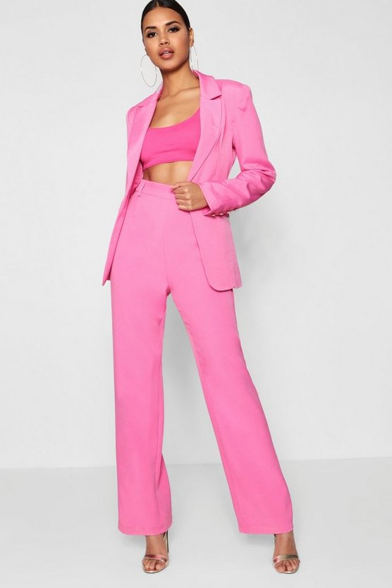Womens Pink Wide Leg Trouser