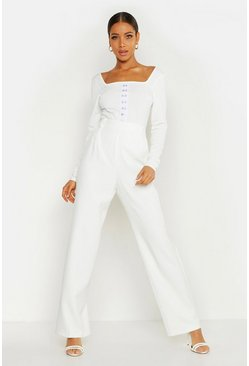 Womens White Wide Leg Trouser