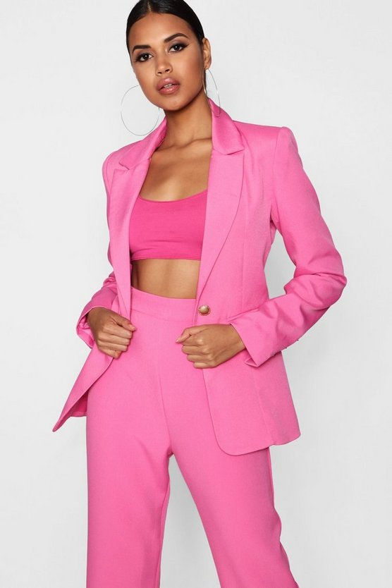 Womens Pink Plunge One Button Blazer