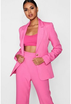 Plunge One Button Blazer, Pink, DAMEN