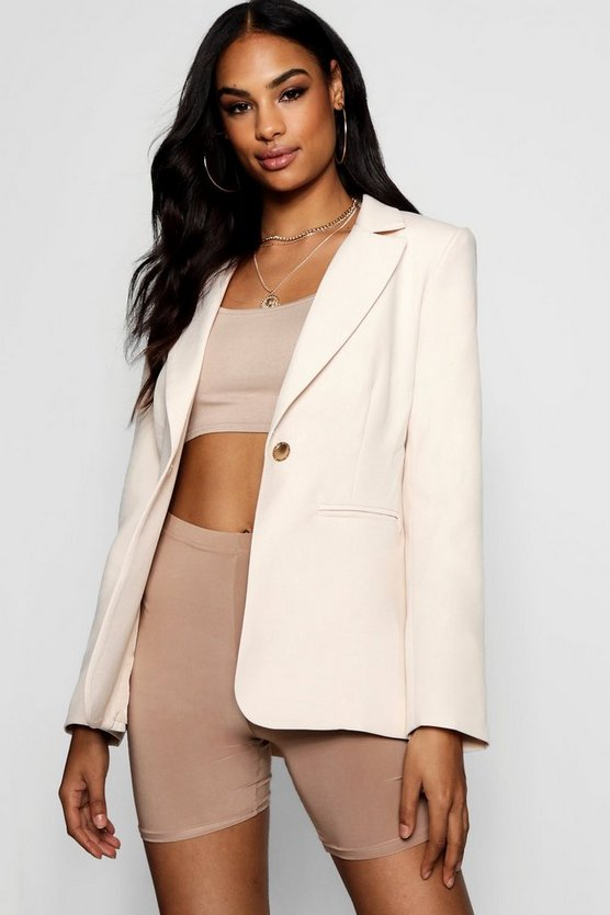 Plunge One Button Blazer