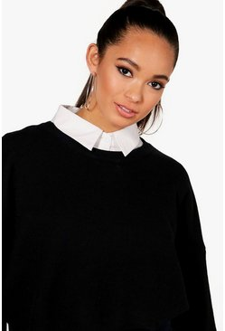 Womens White Layering Collar Shirt