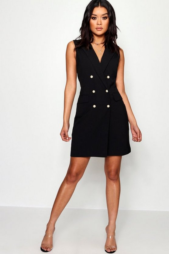 Pearl Button Sleeveless Blazer Dress