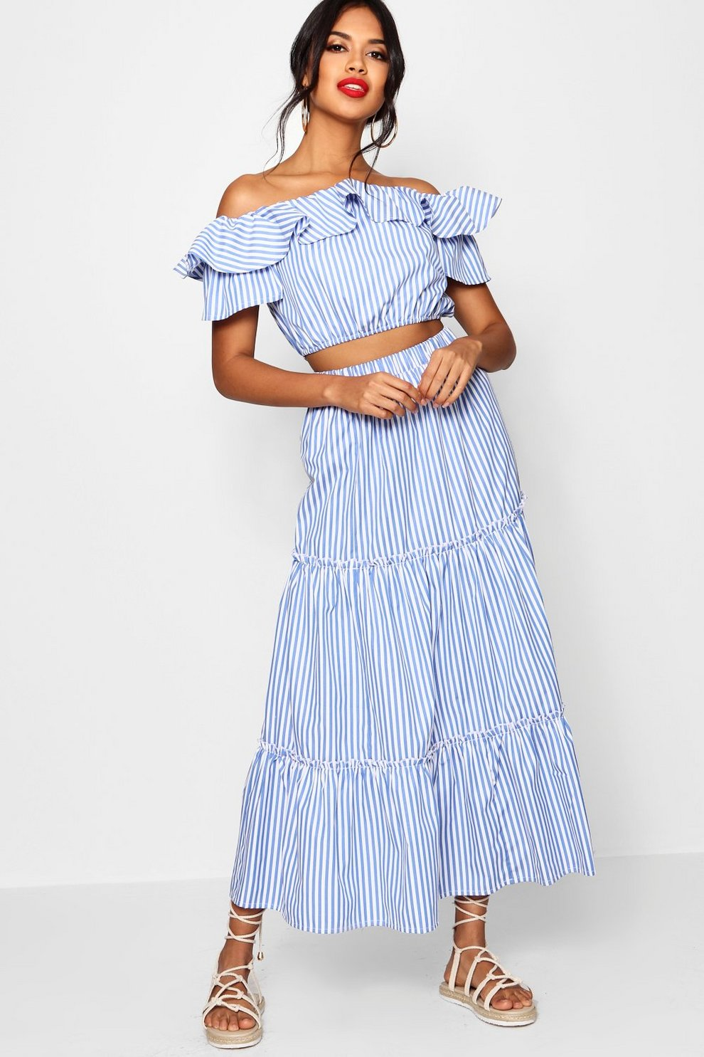 002b001c9c127d Uma Stripe Off Shoulder Top and Skirt Co-ord | Boohoo