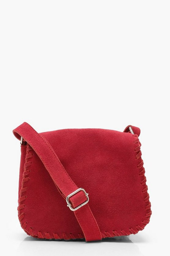 Real Suede Whipstitch Saddle bag