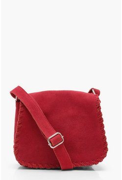 Womens Red Real Suede Whipstitch Saddle bag