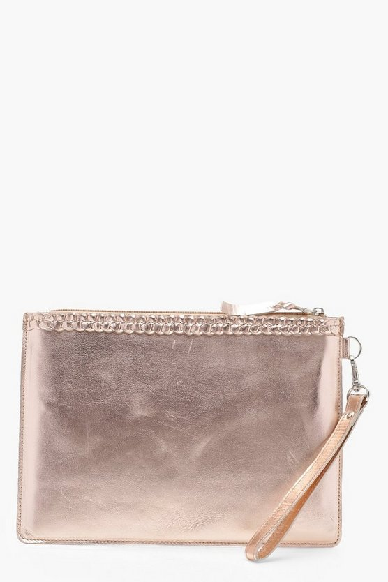 Real Leather Plait Trim Clutch