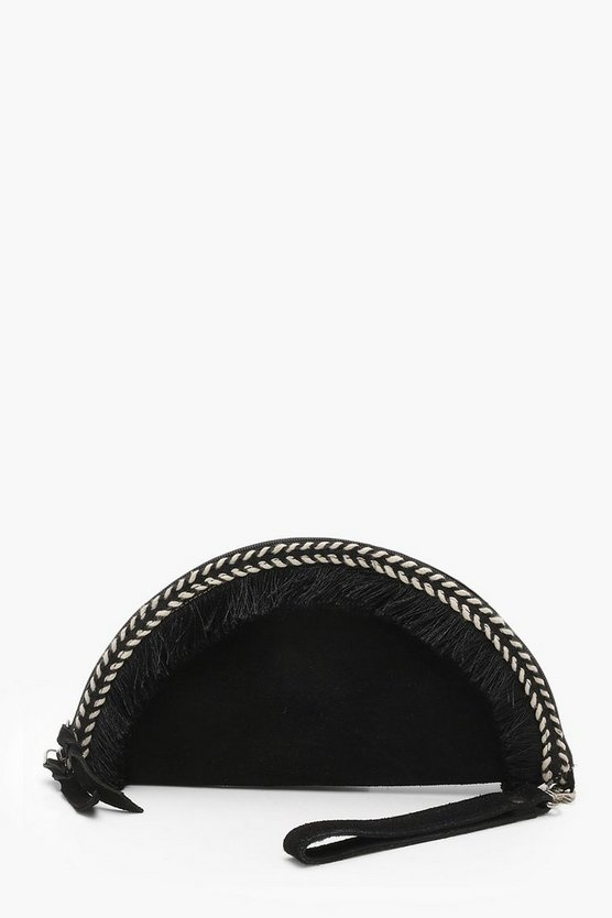 Real Suede Semi Circle Frayed Clutch
