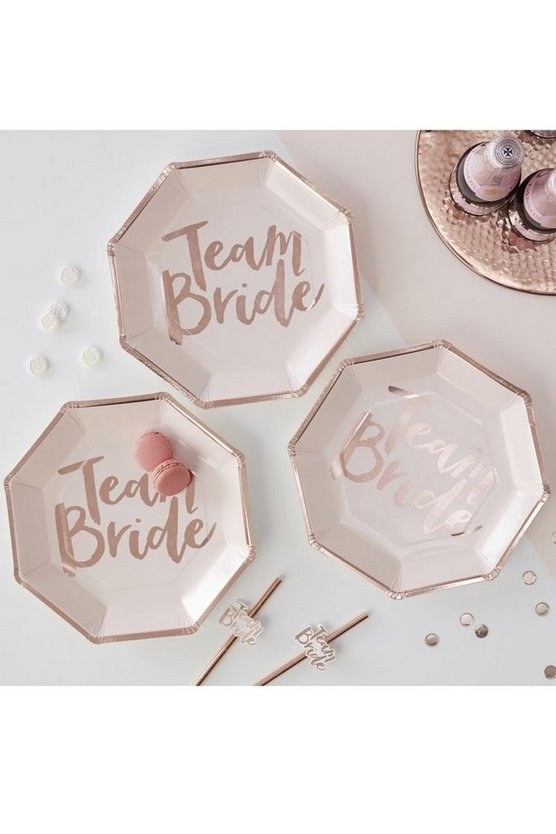 Womens Pink Ginger Ray Team Bride Plates