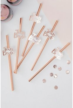 Ginger Ray Team Bride Straws, Pink, MUJER
