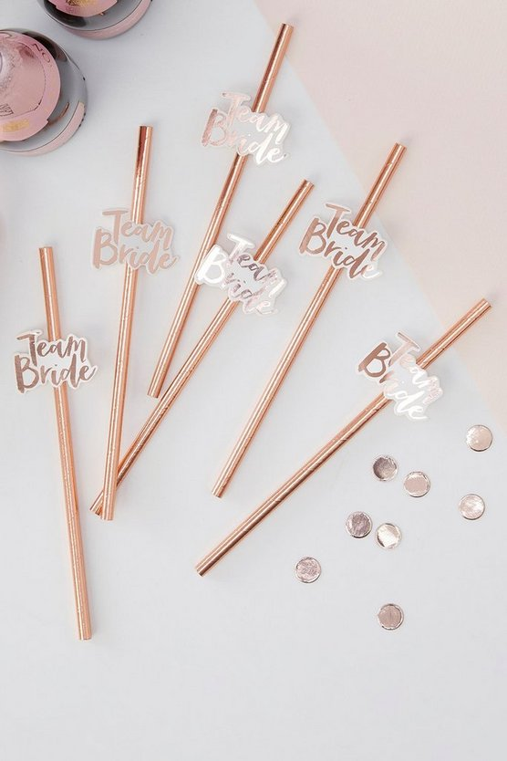 Womens Pink Ginger Ray Team Bride Straws