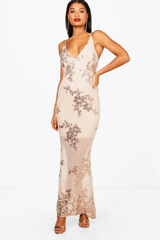 Womens Nude Boutique Sequin Mesh Maxi Dress