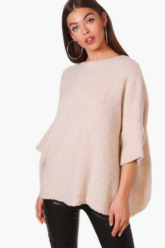 Womens Cream Boucle Knit Jumper