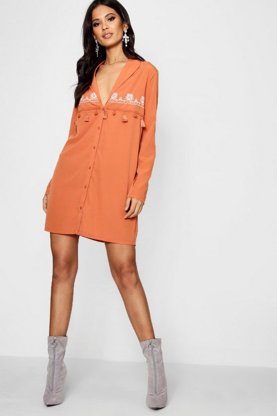 Embroidered Tassel Western Shirt Dress