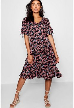 Ditsy Printed Ruffle Hem Midi Dress, Black, Donna