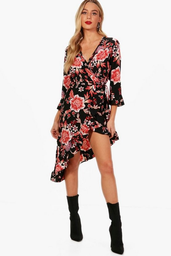 Floral Ruffle Wrap Dress