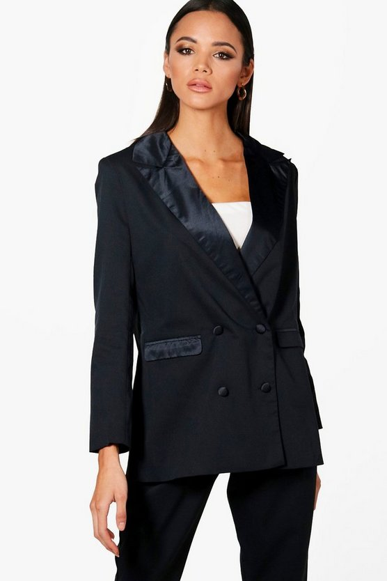 Satin Lapel Oversized Boyfriend Blazer