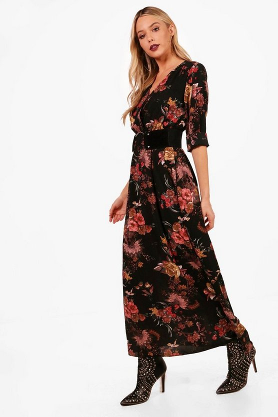 Floral Wrap Midaxi Dress, Black, Donna