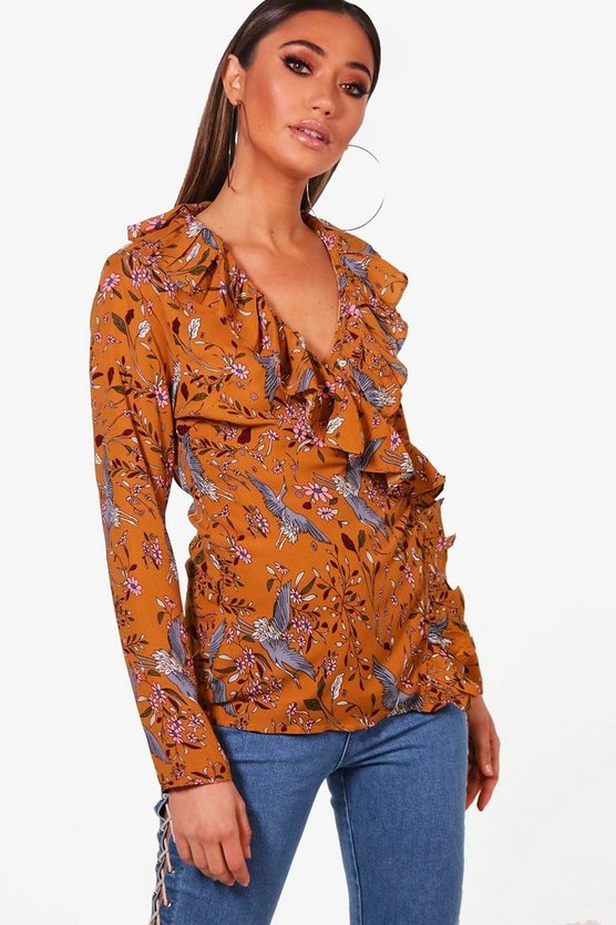 Printed Woven Ruffle Front Blouse