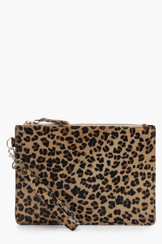 Bella Leather Leopard Pony Zip Top Clutch