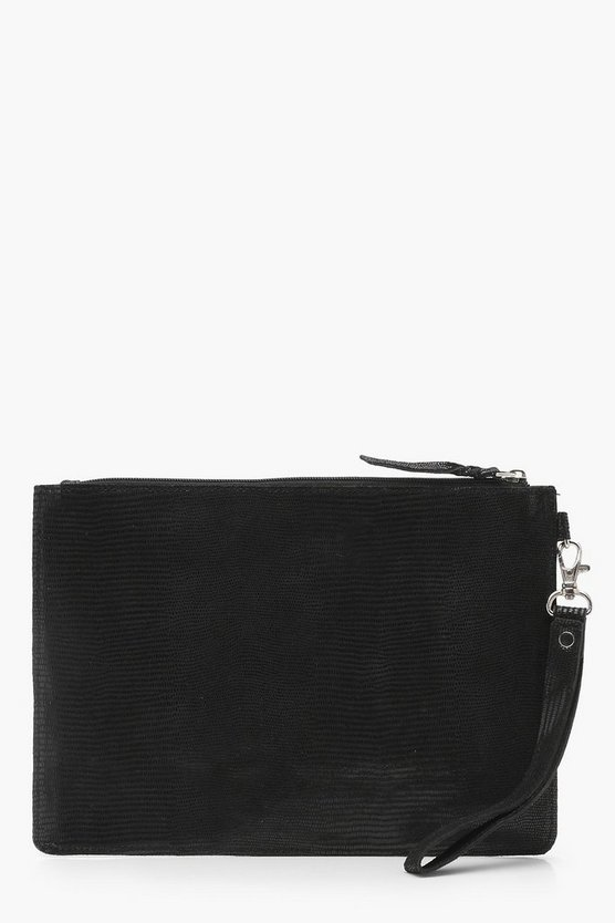 Womens Black Leather Snake Effect Ziptop Clutch