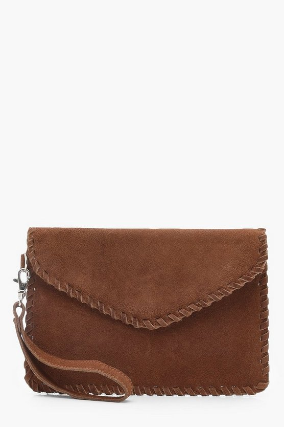 Real Suede Whipstitch Edge Envelope Clutch