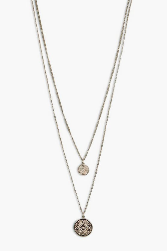 Womens Gold Rosie Double Coin Layered Necklace