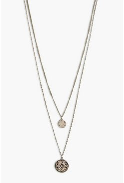 Rosie Double Coin Layered Necklace, Золотой, Женские