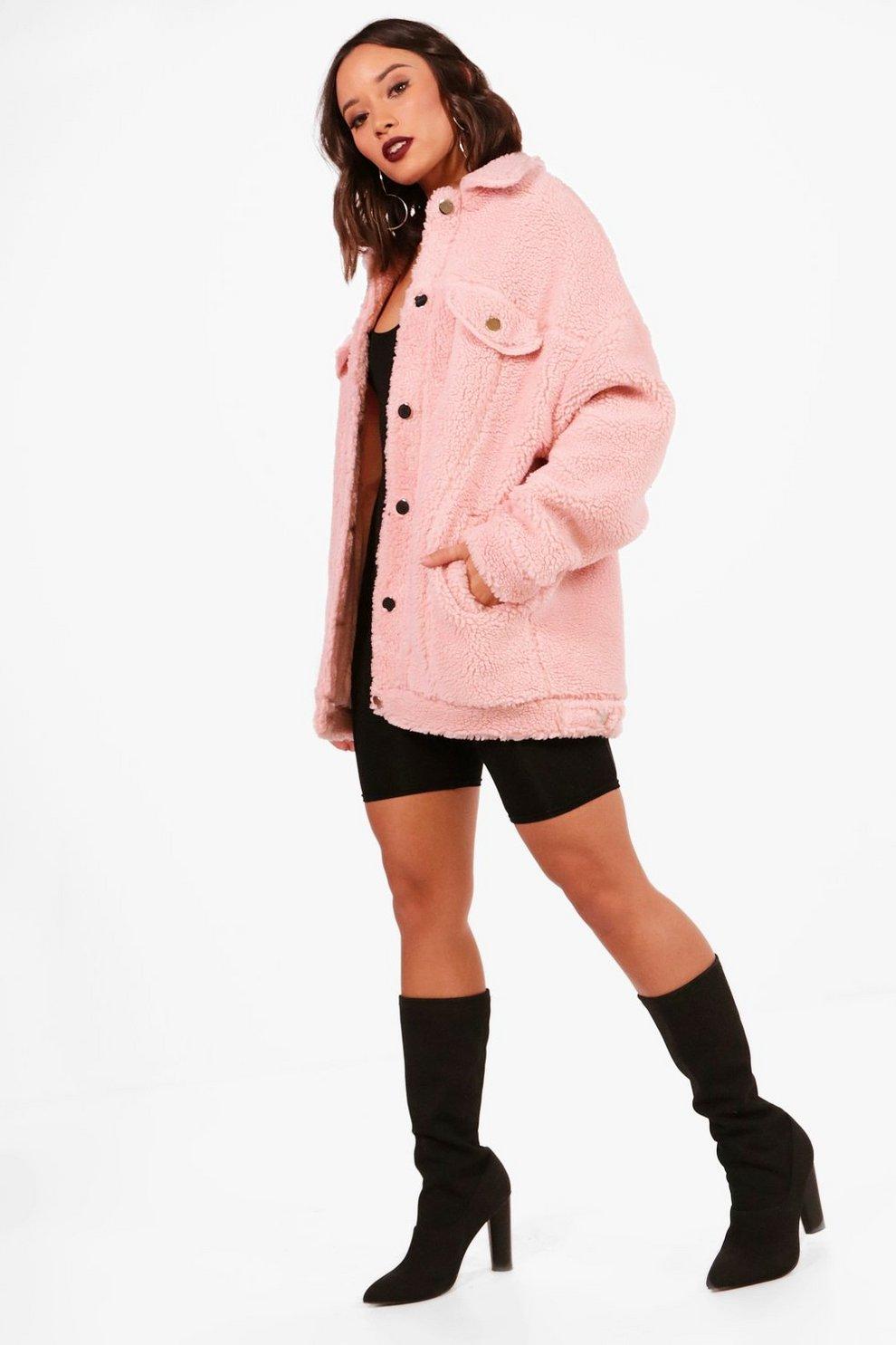 1e51fd15f394 K Zell Dusty Pink Teddy Bear Faux Fur Coat Limited Edition