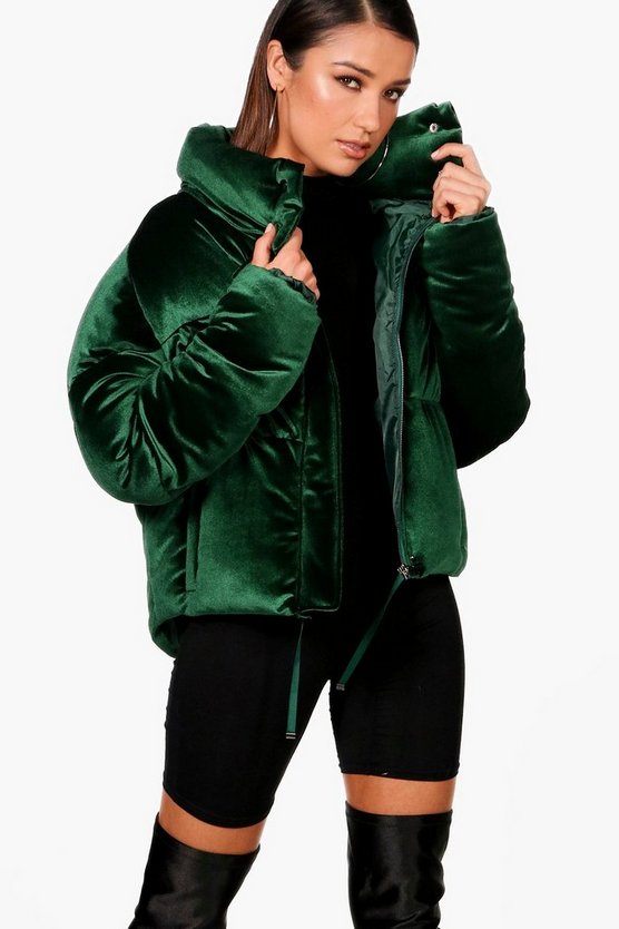 Womens Green Velvet Crop Funnel Neck Puffer
