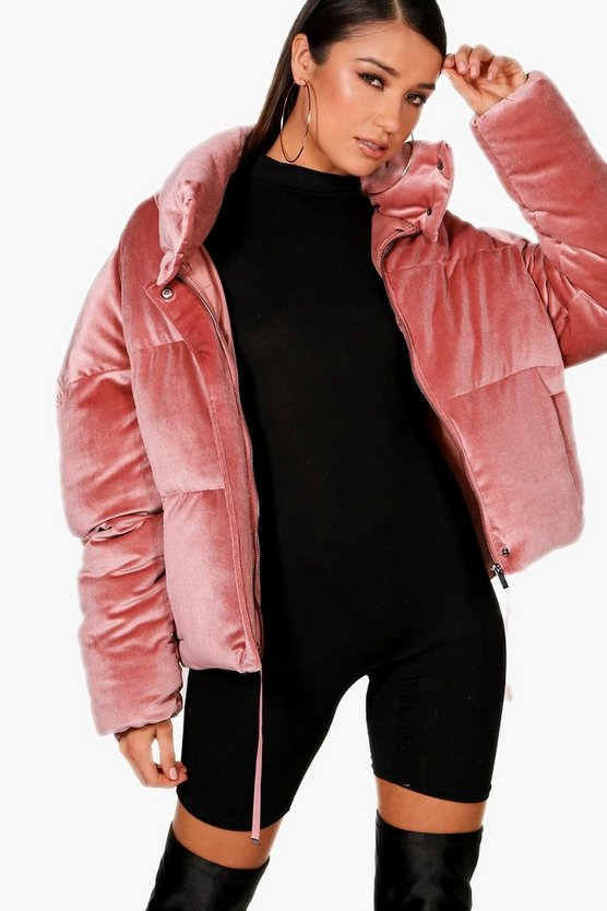 Velvet Crop Funnel Neck Puffer