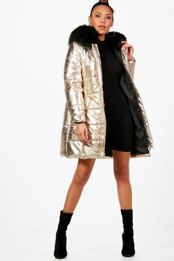 Womens Gold Metallic Faux Fur Hood Puffer