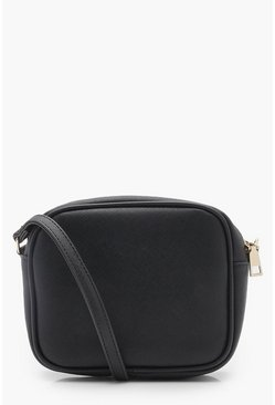 Womens Black Zip Around Cross Body Bag