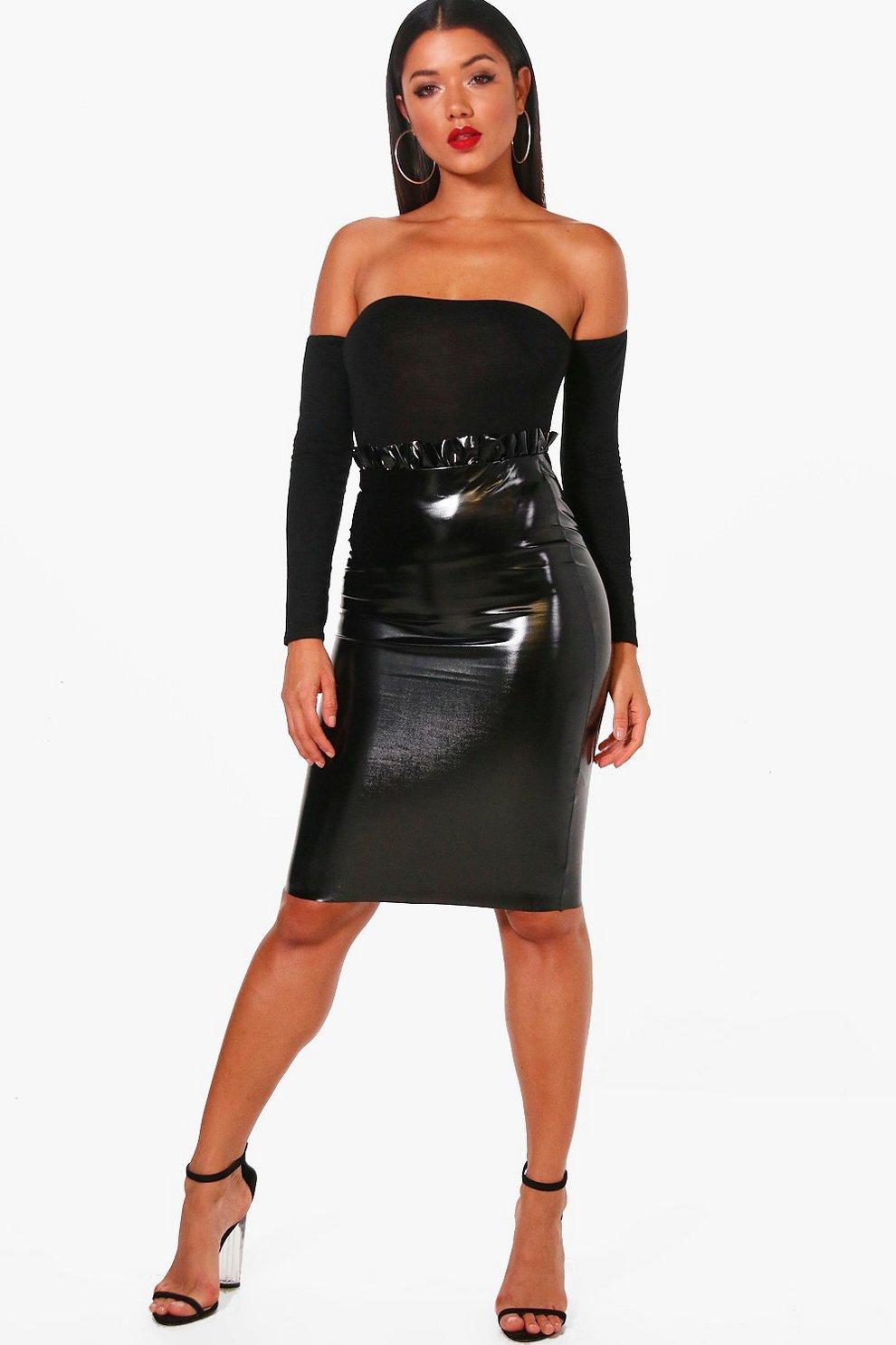 d3bbcdc269 Womens Black Paperbag Waist Vinyl Midi Skirt