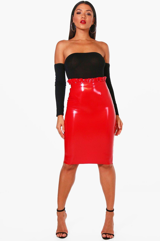 42a7c049e9 Paperbag Waist Vinyl Midi Skirt | Boohoo