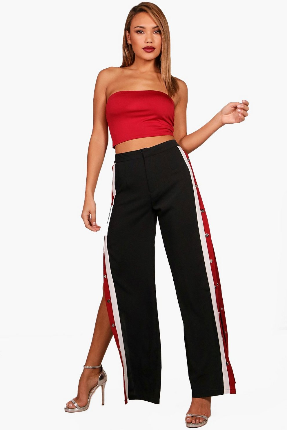 e9e6a2bdf92d4 Womens Black Popper Side Stripe Wide Leg Trouser