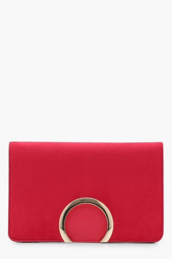 Metal Circle Suedette And PU Mix Clutch